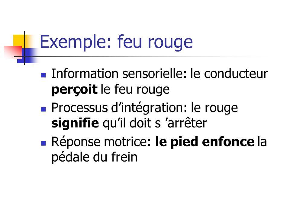 Exemple: feu rouge Information sensorielle: le conducteur perçoit le feu rouge. Processus d'intégration: le rouge signifie qu'il doit s 'arrêter.
