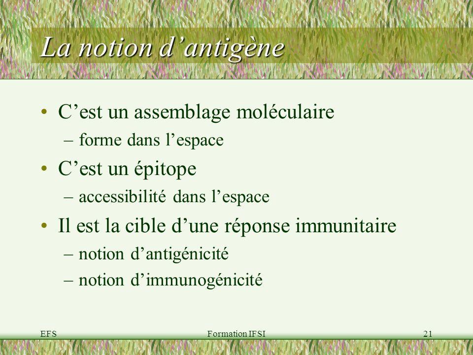 La notion d'antigène C'est un assemblage moléculaire C'est un épitope