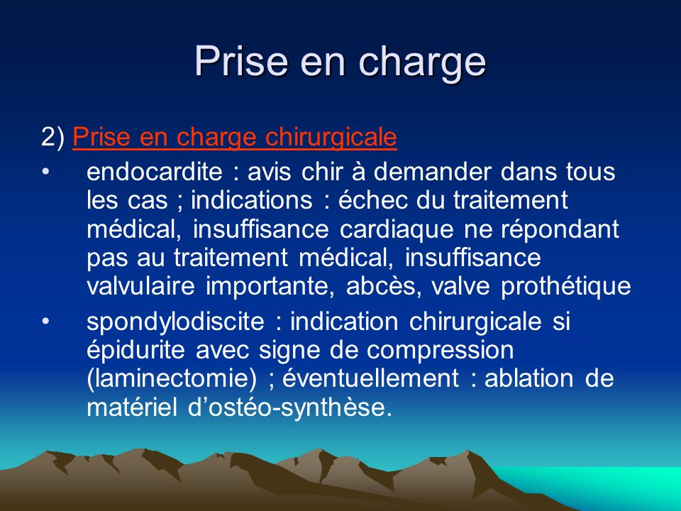 Prise en charge 2) Prise en charge chirurgicale