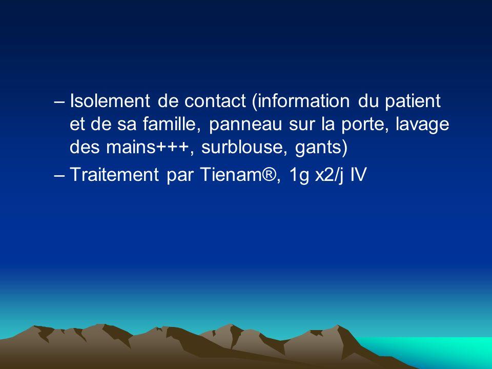 Isolement de contact (information du patient et de sa famille, panneau sur la porte, lavage des mains+++, surblouse, gants)