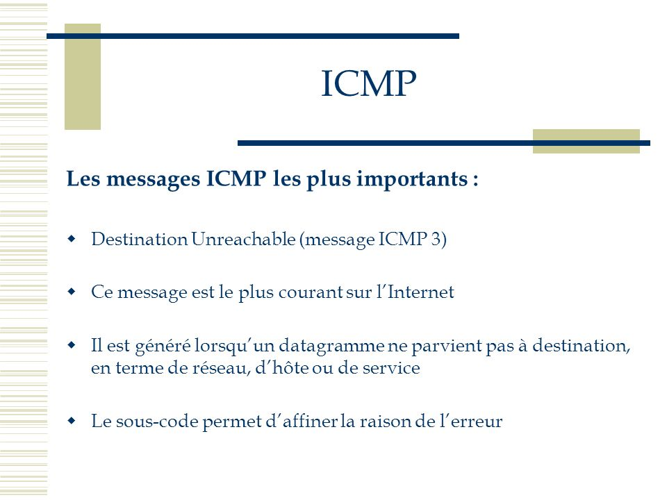 ICMP Les messages ICMP les plus importants :