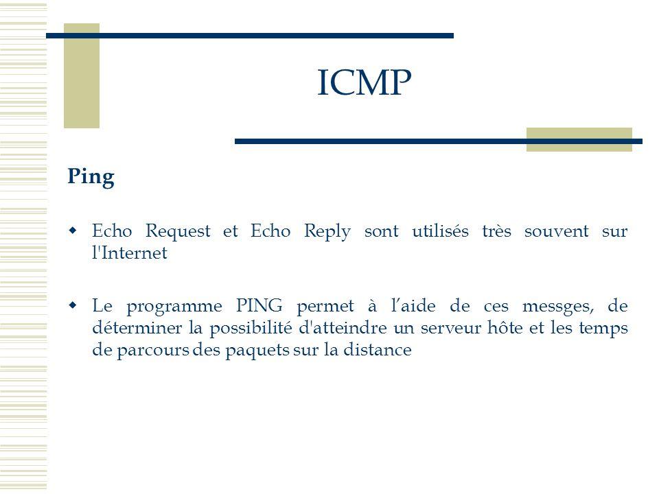 ICMPPing. Echo Request et Echo Reply sont utilisés très souvent sur l Internet.