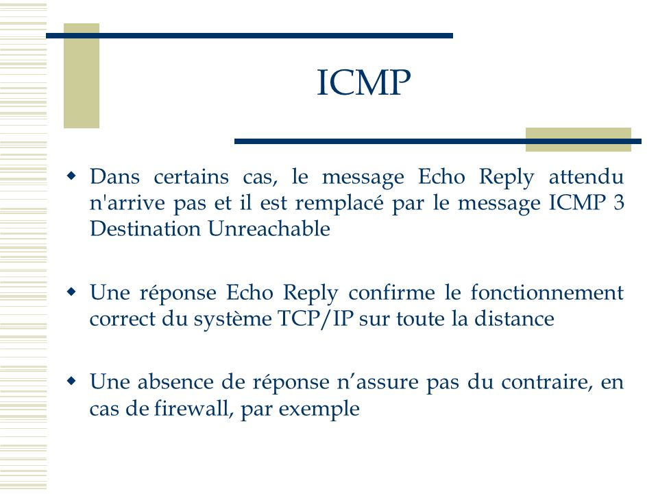 ICMPDans certains cas, le message Echo Reply attendu n arrive pas et il est remplacé par le message ICMP 3 Destination Unreachable.