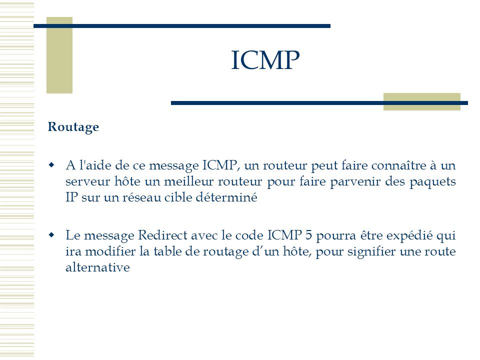 ICMP Routage.