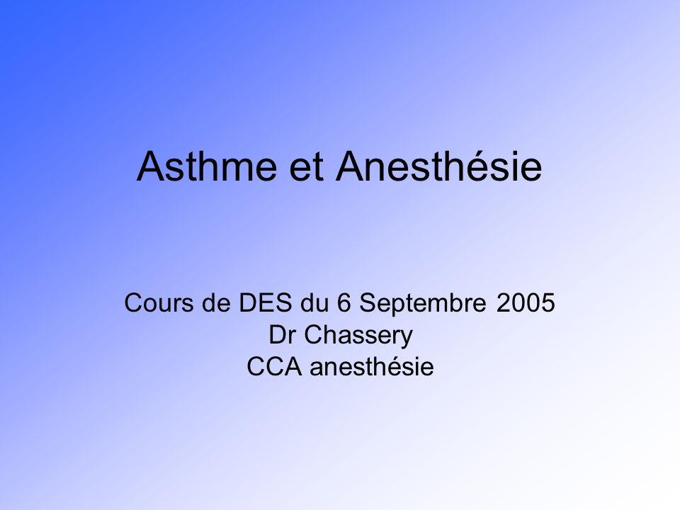 Cours de DES du 6 Septembre 2005 Dr Chassery CCA anesthésie