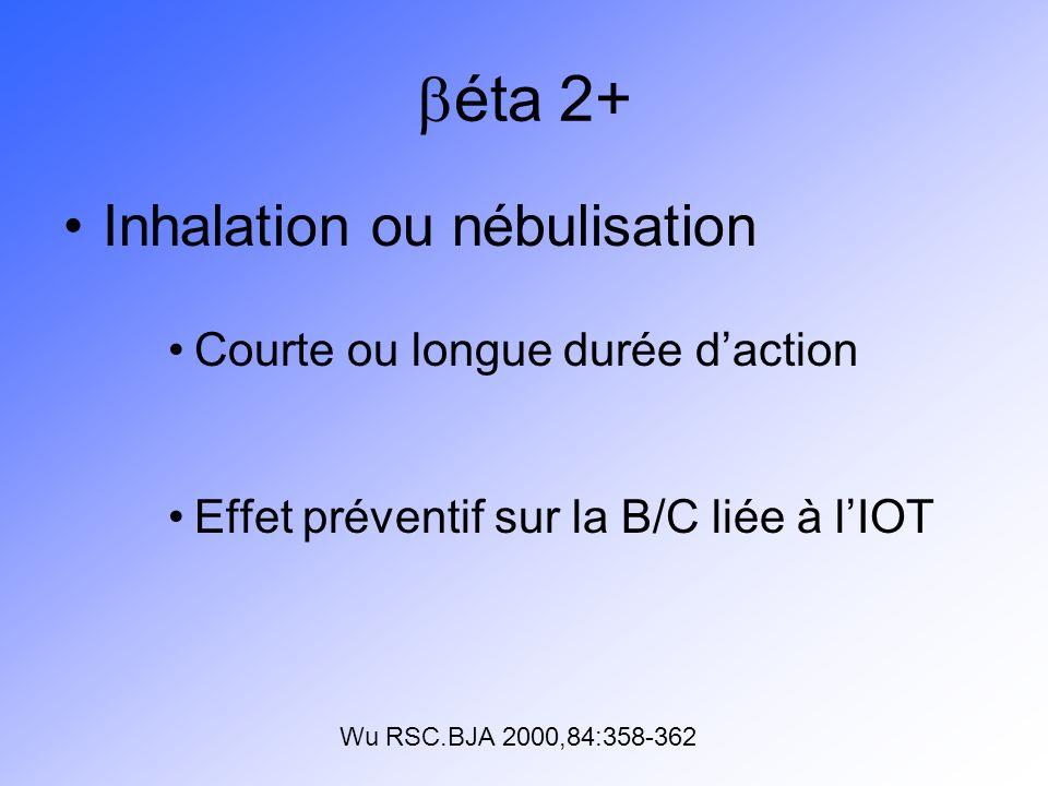 éta 2+ Inhalation ou nébulisation Courte ou longue durée d'action