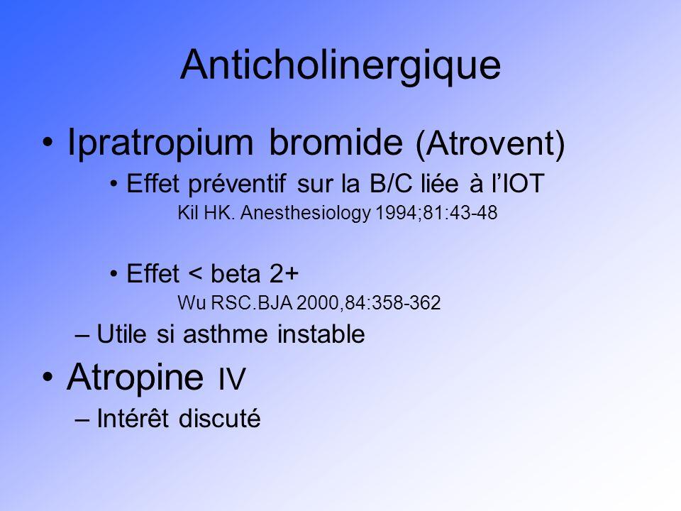 Anticholinergique Ipratropium bromide (Atrovent) Atropine IV