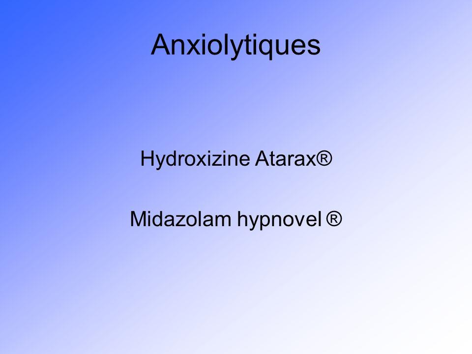 Anxiolytiques Hydroxizine Atarax® Midazolam hypnovel ®