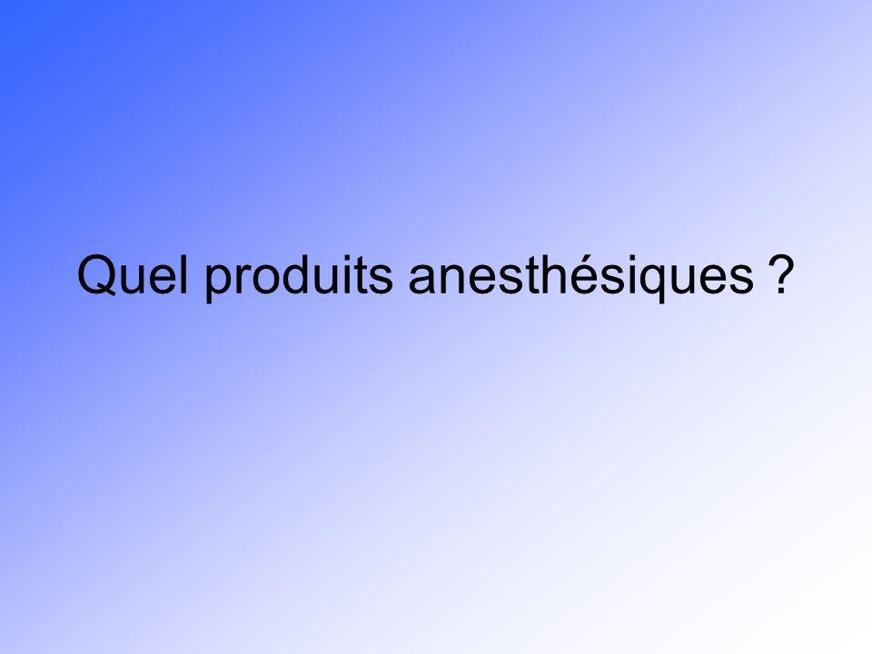 Quel produits anesthésiques