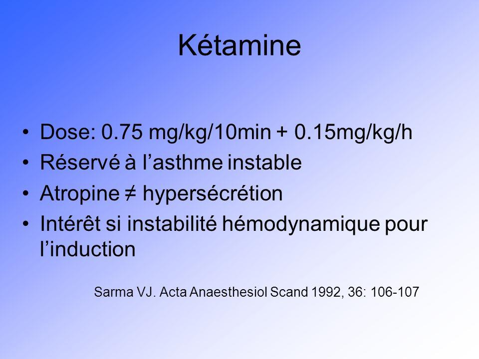 Kétamine Dose: 0.75 mg/kg/10min + 0.15mg/kg/h