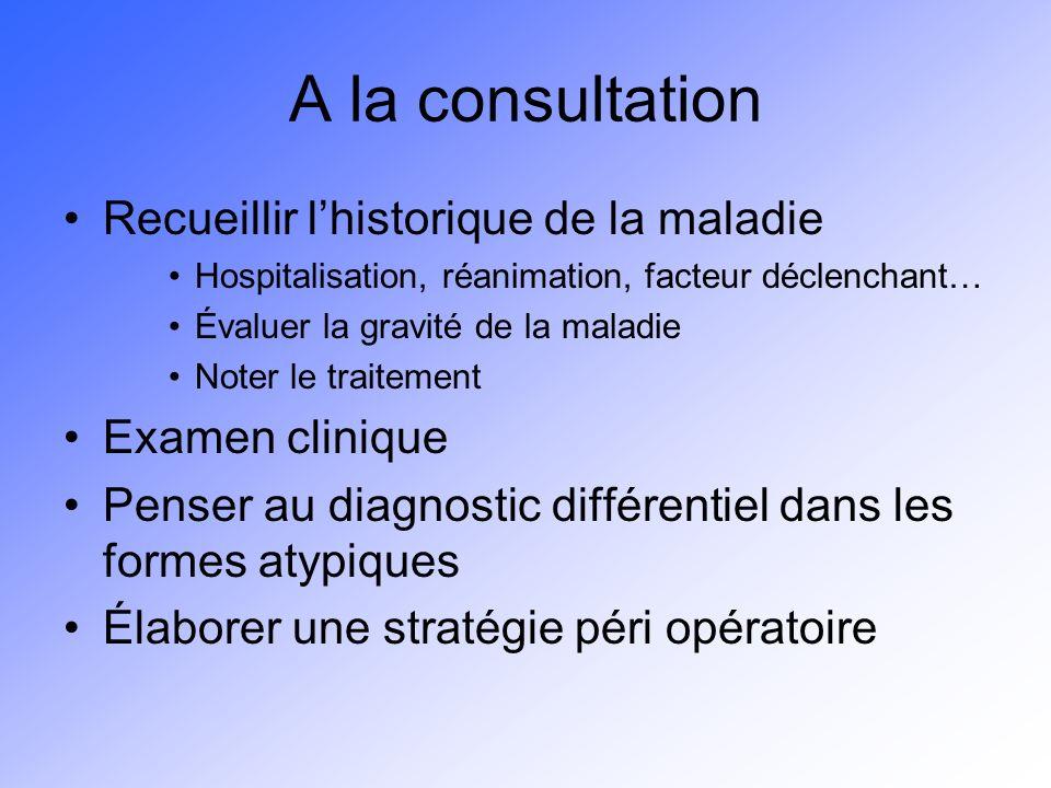 A la consultation Recueillir l'historique de la maladie