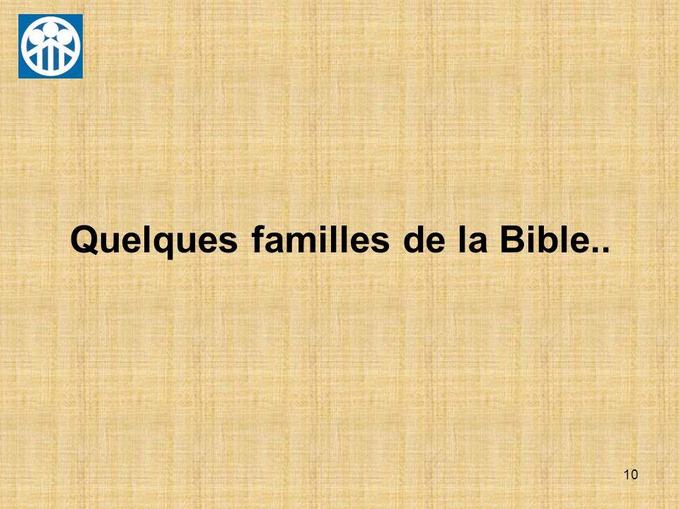 Quelques familles de la Bible..