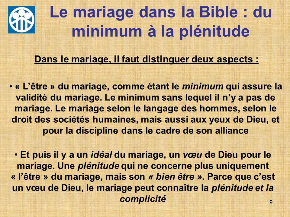 Le mariage dans la Bible : du minimum à la plénitude