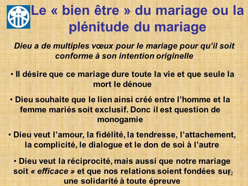 Le « bien être » du mariage ou la plénitude du mariage