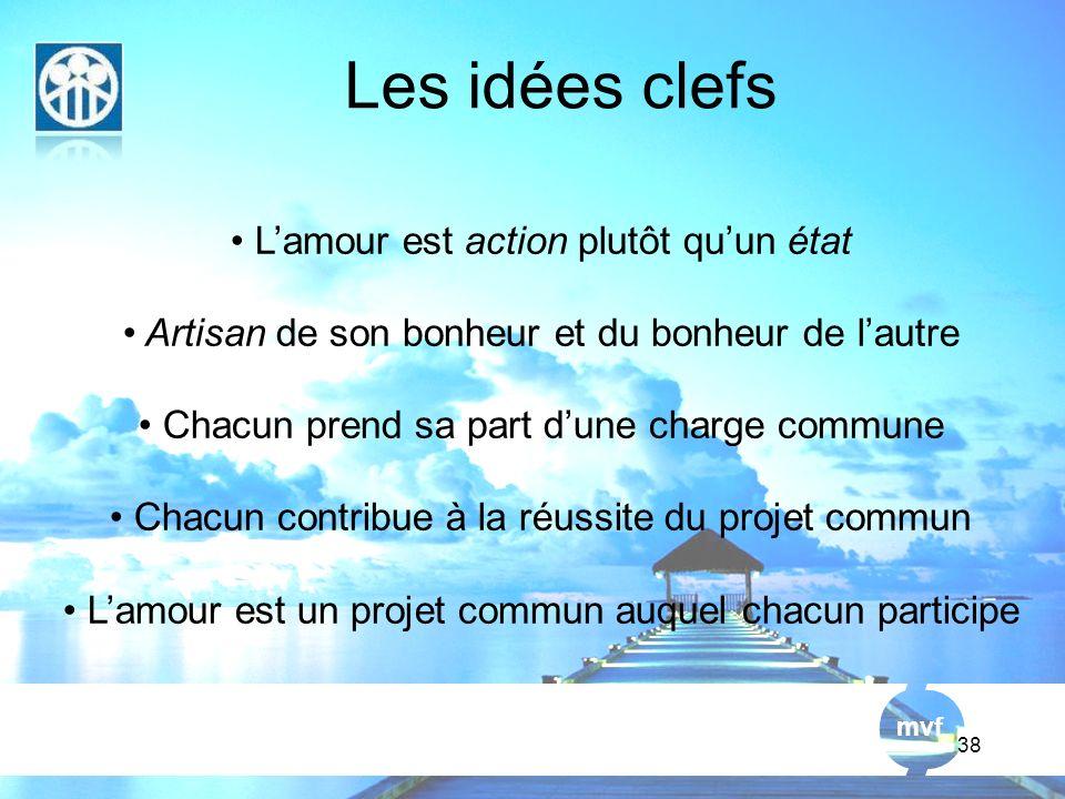 Les idées clefs L'amour est action plutôt qu'un état