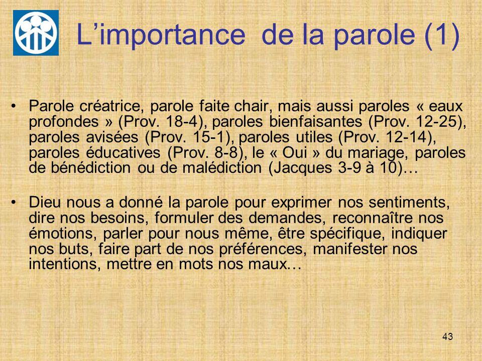 L'importance de la parole (1)