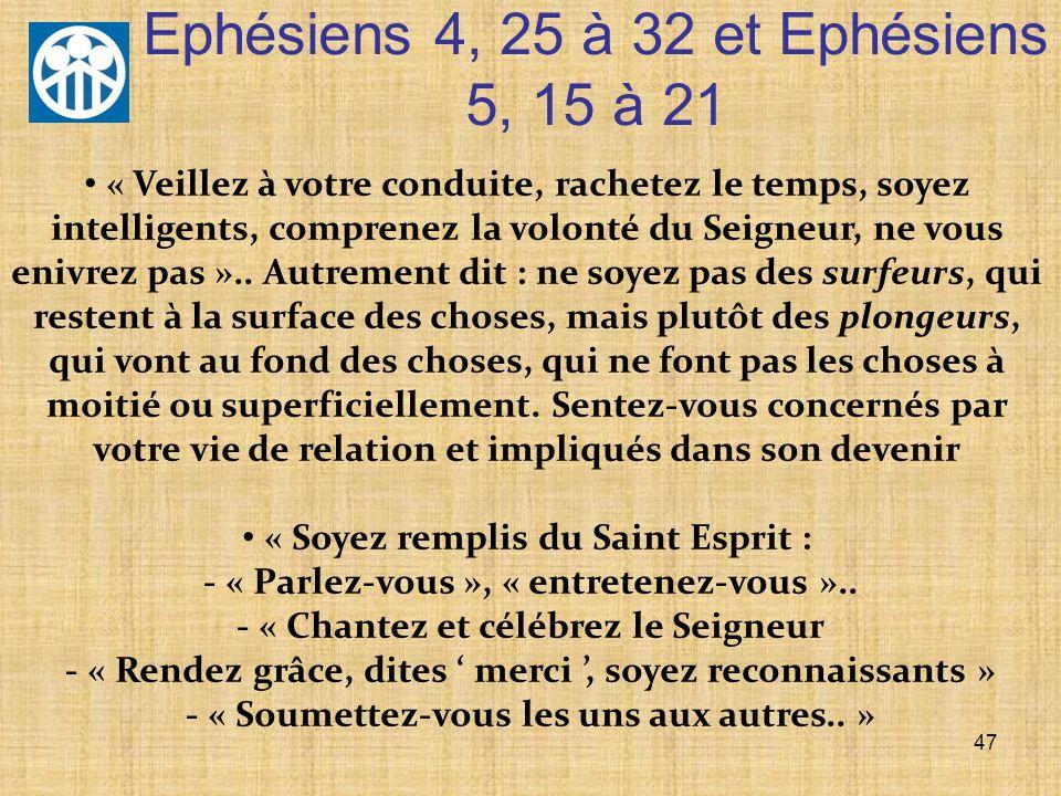 Ephésiens 4, 25 à 32 et Ephésiens 5, 15 à 21