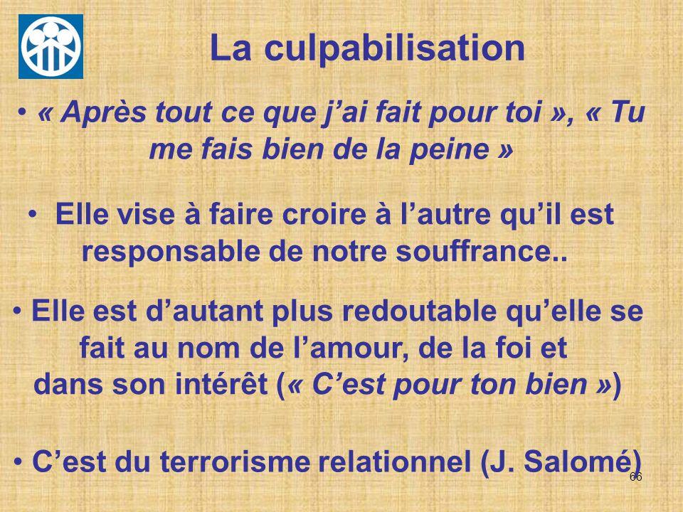 C'est du terrorisme relationnel (J. Salomé)