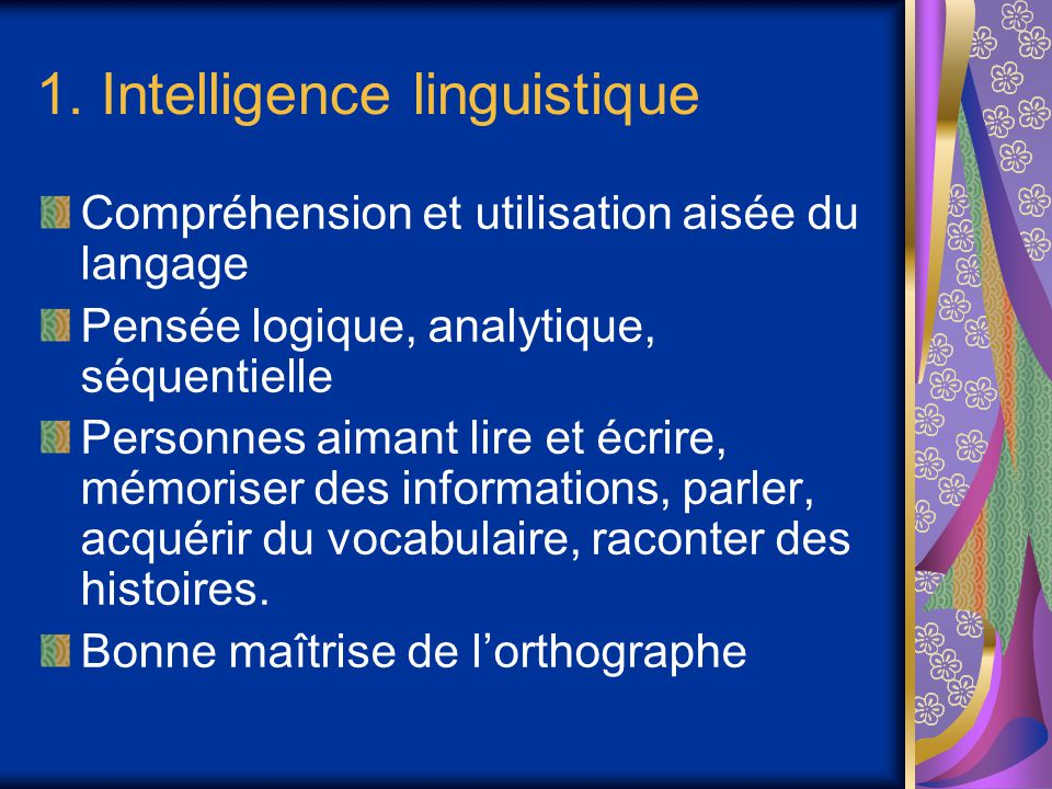 1. Intelligence linguistique