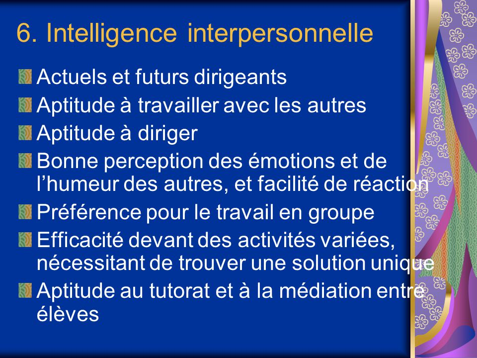6. Intelligence interpersonnelle
