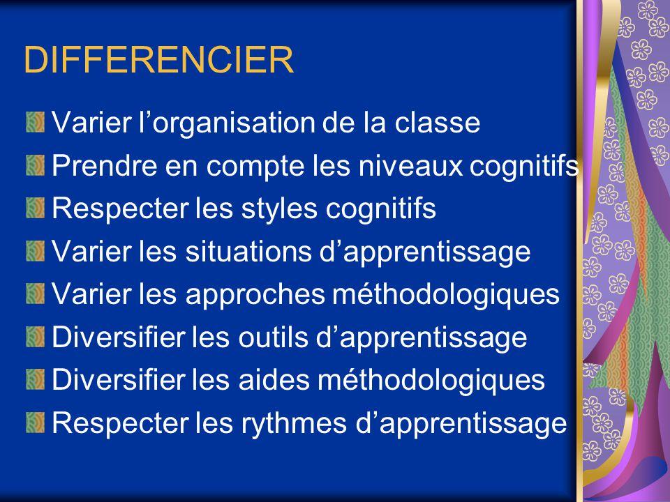 DIFFERENCIER Varier l'organisation de la classe