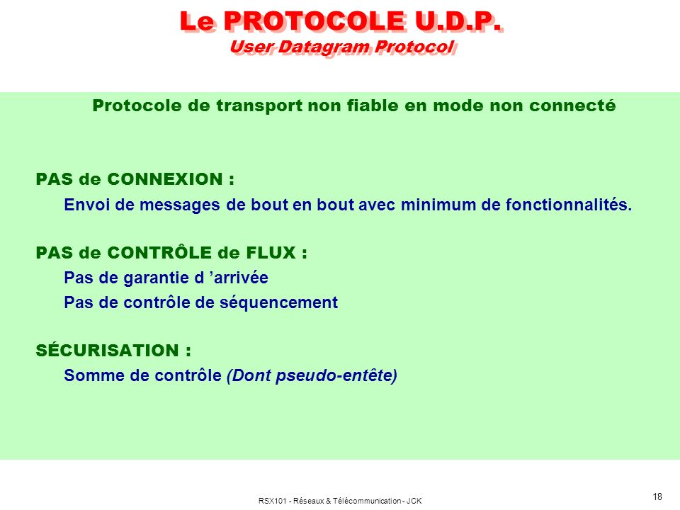 Le PROTOCOLE U.D.P. User Datagram Protocol
