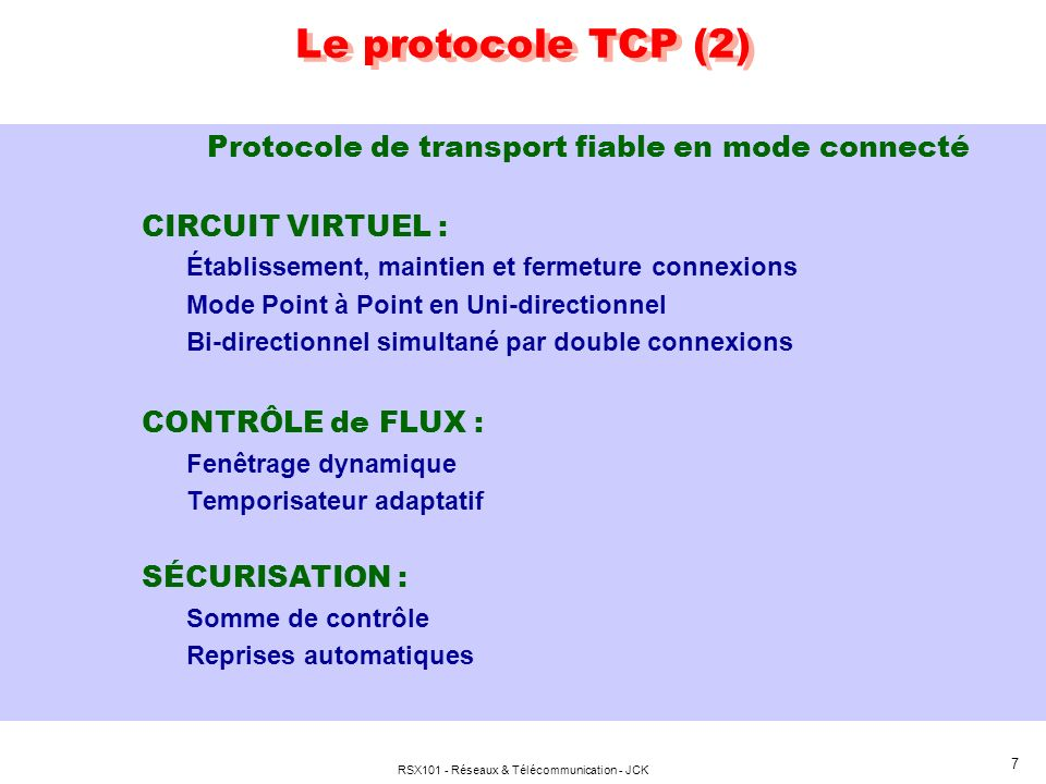 Le protocole TCP (2) Protocole de transport fiable en mode connecté