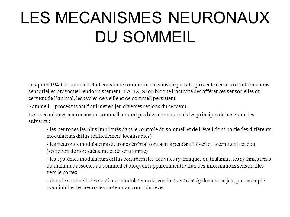 LES MECANISMES NEURONAUX DU SOMMEIL