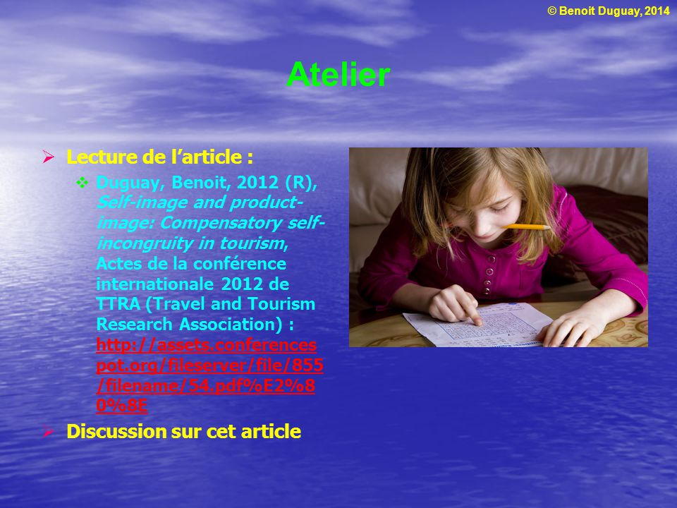 Atelier Lecture de l'article : Discussion sur cet article