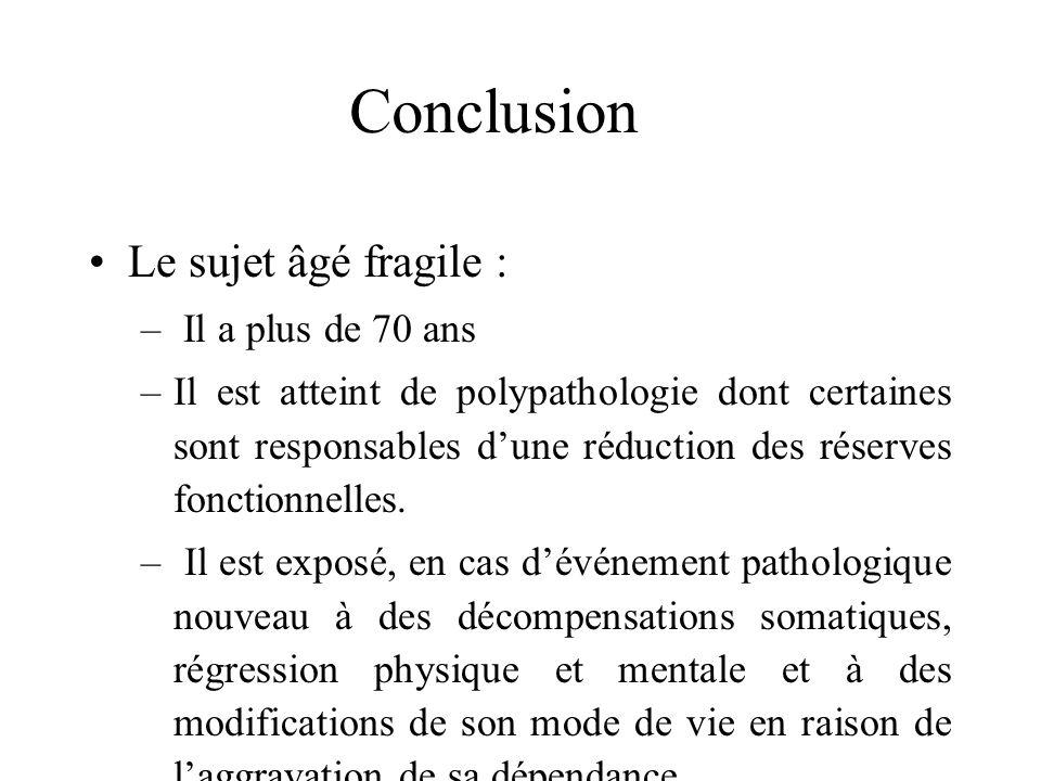 Conclusion Le sujet âgé fragile : Il a plus de 70 ans