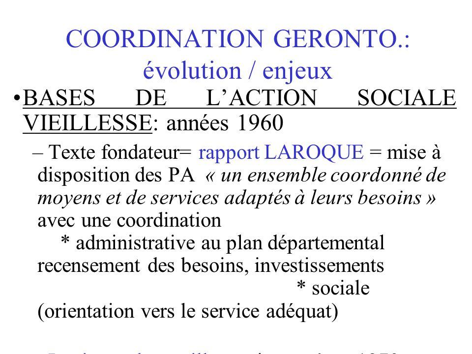 COORDINATION GERONTO.: évolution / enjeux