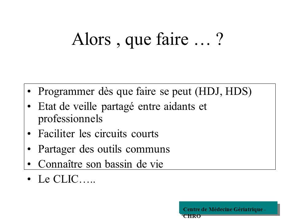 Alors , que faire … Programmer dès que faire se peut (HDJ, HDS)
