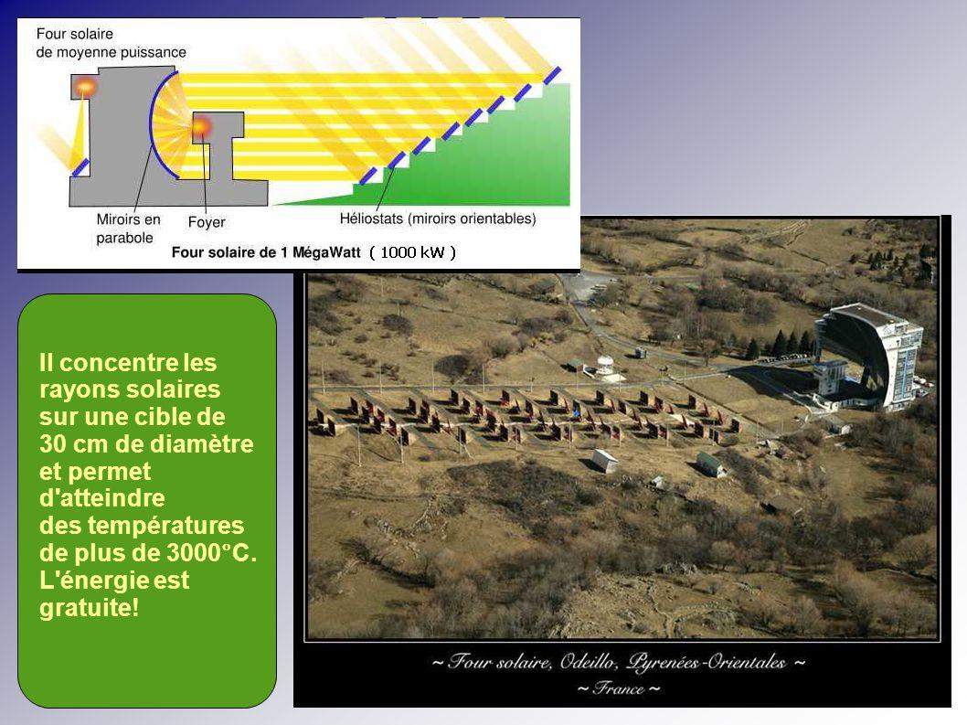 Il concentre les rayons solaires. sur une cible de. 30 cm de diamètre. et permet. d atteindre. des températures.