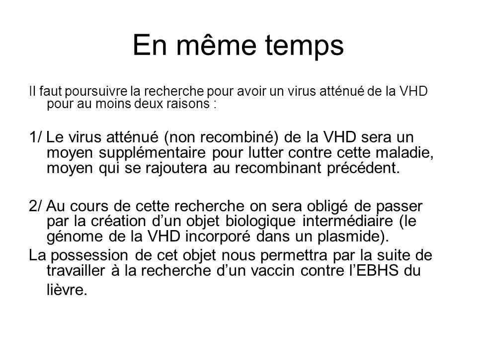 En même temps Il faut poursuivre la recherche pour avoir un virus atténué de la VHD pour au moins deux raisons :