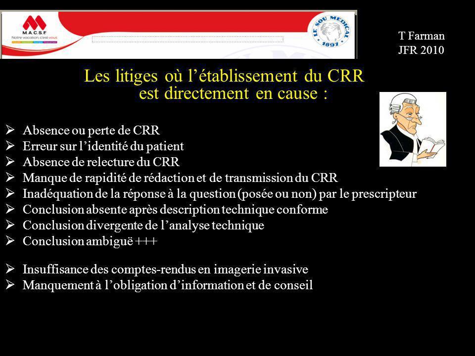 Les litiges où l'établissement du CRR est directement en cause :