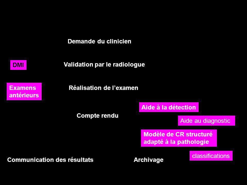 Demande du clinicien DMI. Validation par le radiologue. Examens. antérieurs. Réalisation de l'examen.