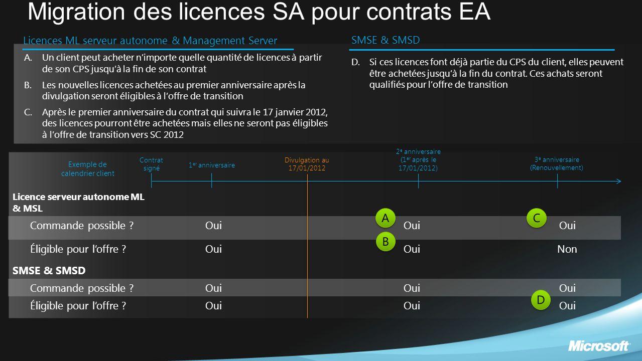 Migration des licences SA pour contrats EA