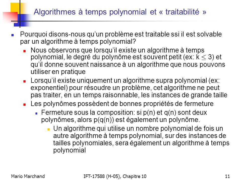 Algorithmes à temps polynomial et « traitabilité »