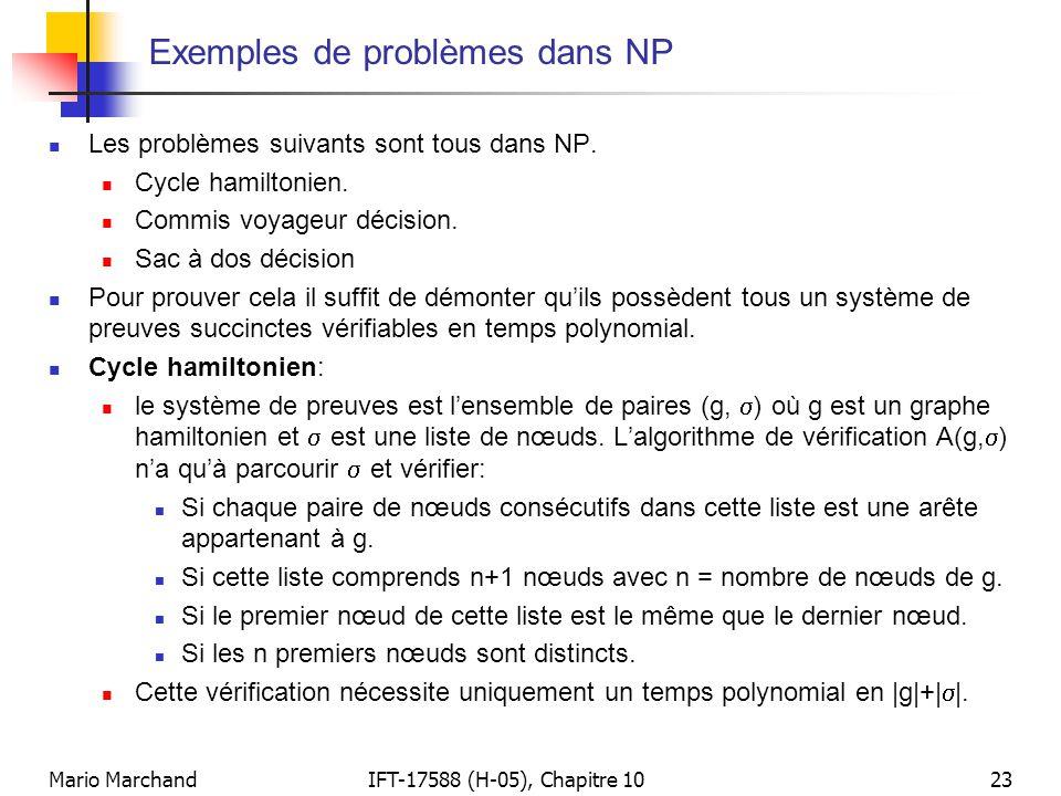 Exemples de problèmes dans NP