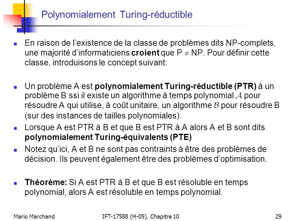 Polynomialement Turing-réductible