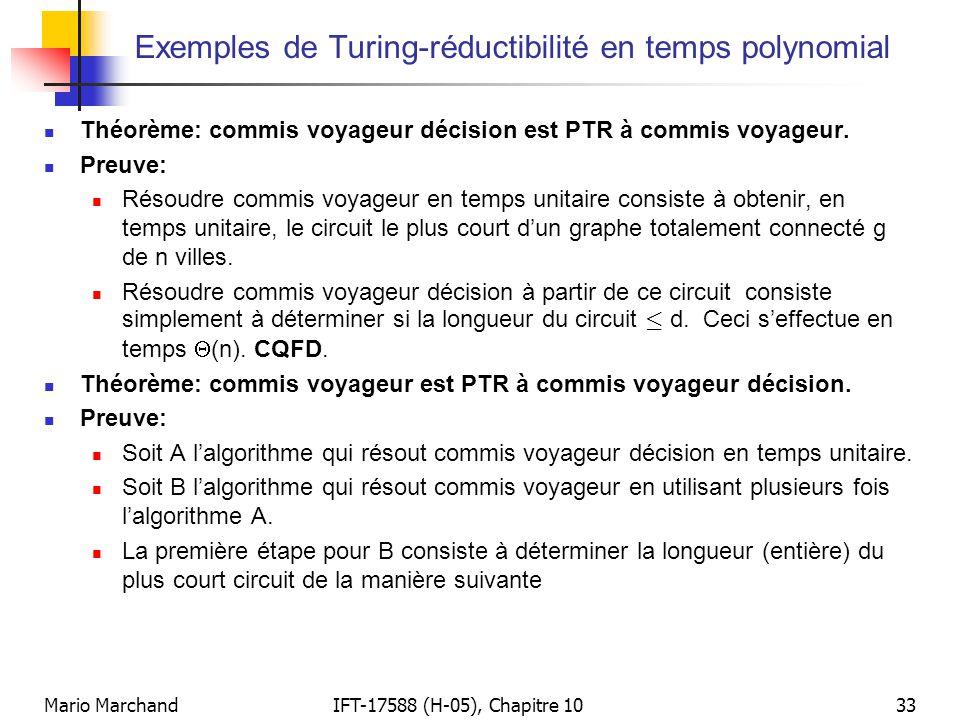 Exemples de Turing-réductibilité en temps polynomial