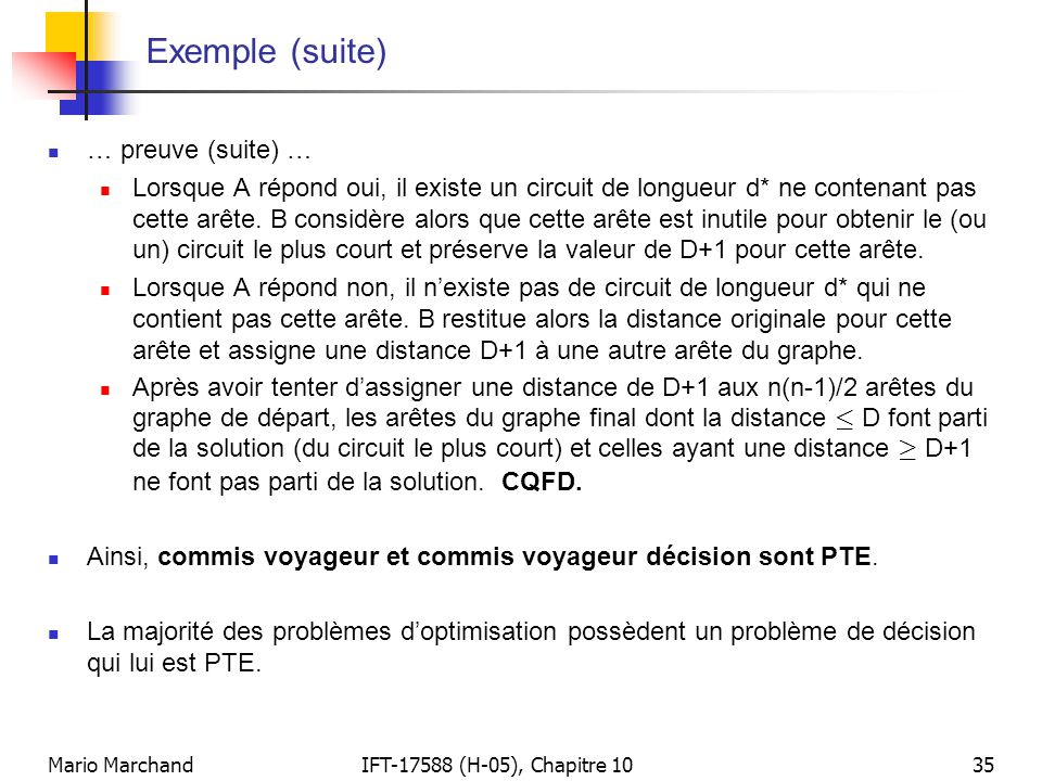 Exemple (suite) … preuve (suite) …