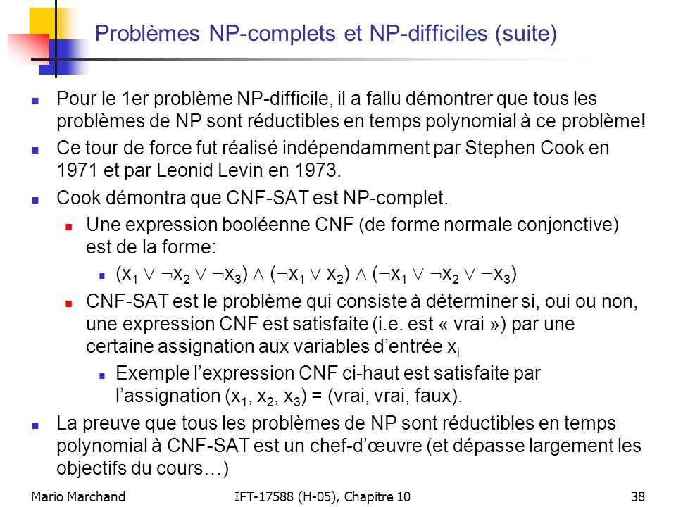 Problèmes NP-complets et NP-difficiles (suite)