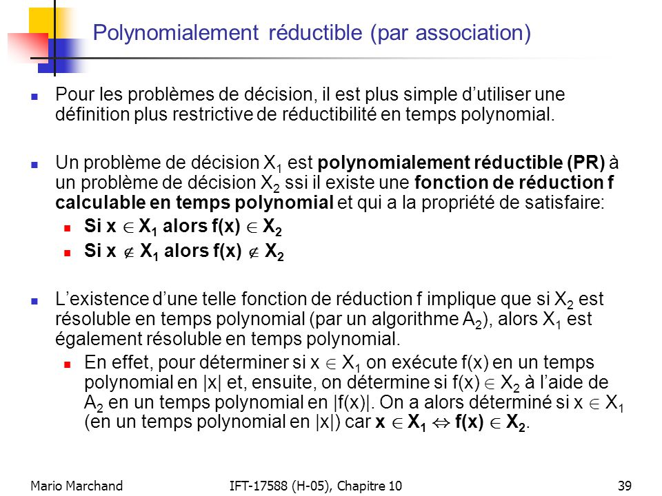 Polynomialement réductible (par association)