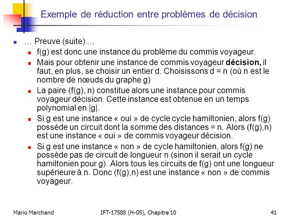 Exemple de réduction entre problèmes de décision