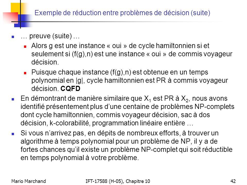 Exemple de réduction entre problèmes de décision (suite)
