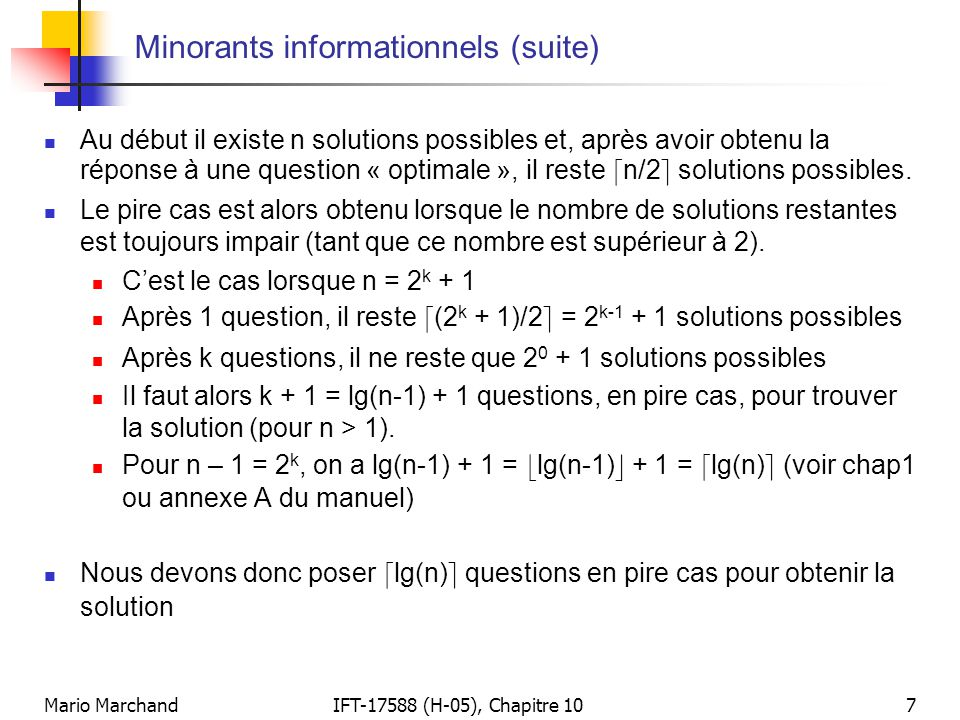 Minorants informationnels (suite)