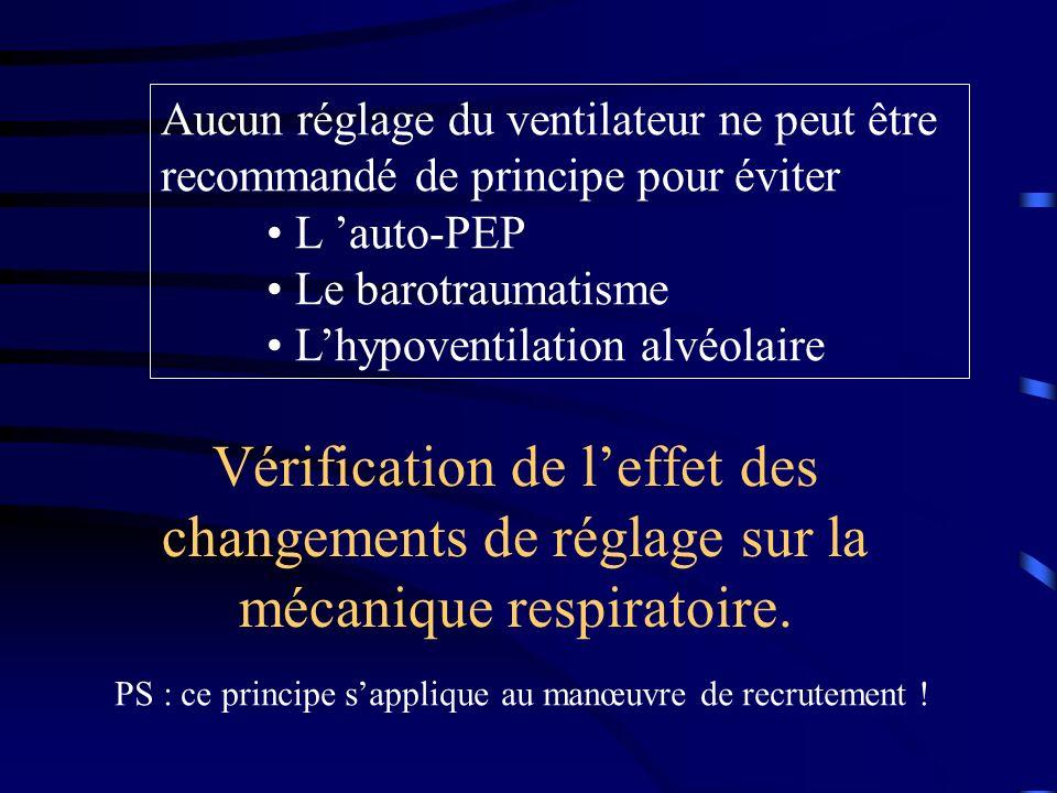 Aucun réglage du ventilateur ne peut être recommandé de principe pour éviter