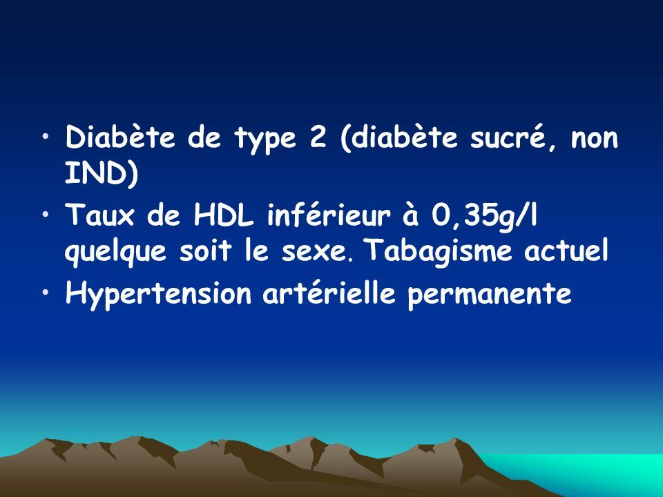 Diabète de type 2 (diabète sucré, non IND)