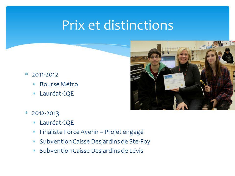 Prix et distinctions 2011-2012 2012-2013 Bourse Métro Lauréat CQE